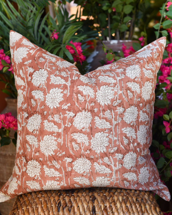 "Dahlia Blockprint 24"" Linen Pillow"