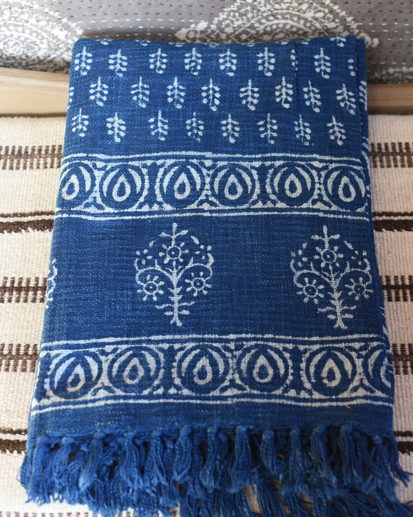 Indigo Dabu Print Throw Blanket
