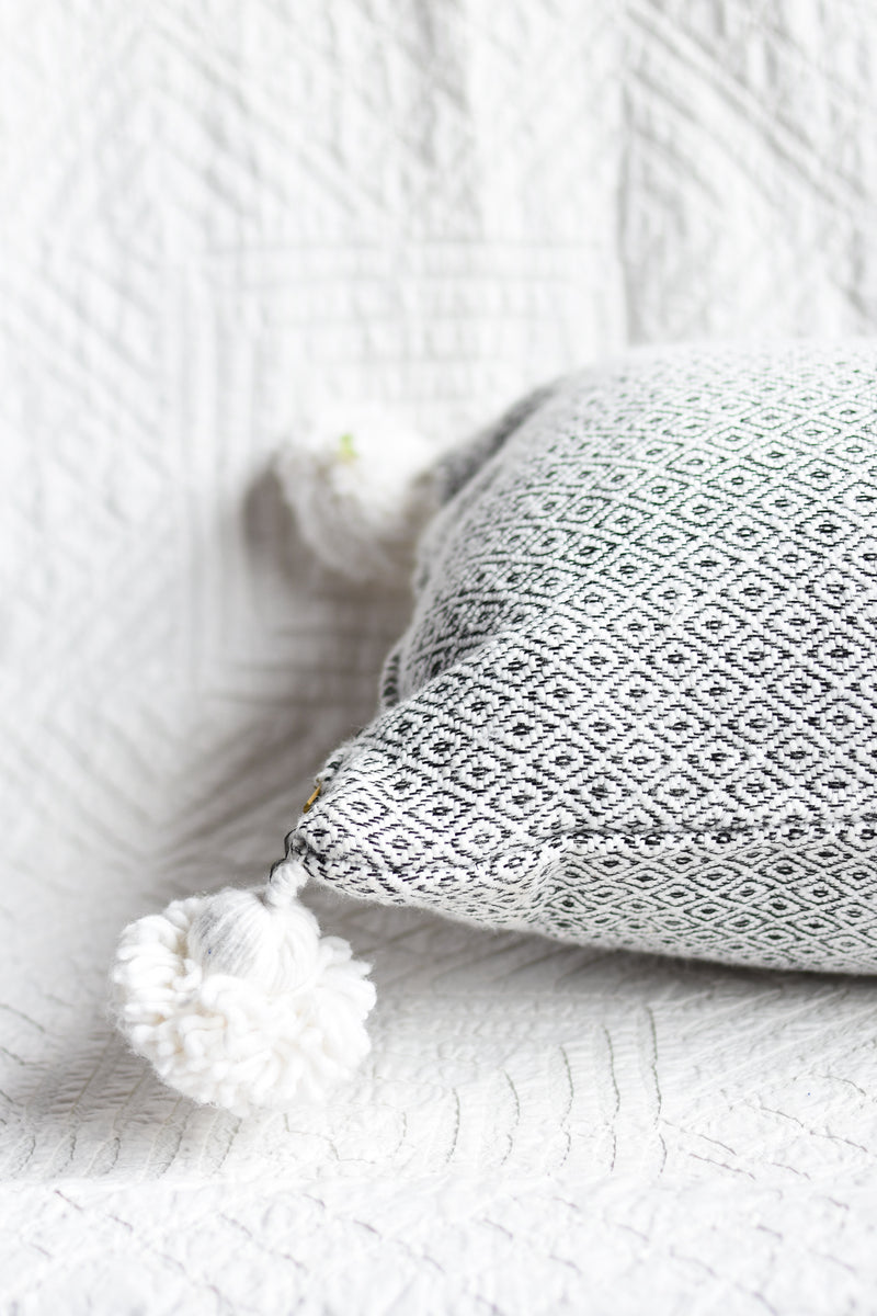 Jacquard Pom Pom Pillow - Diamond - Lumbar