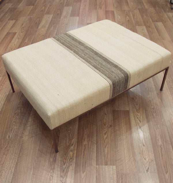 Coffee Table Ottoman in Vintage Neutral Kilim ETA November 2020