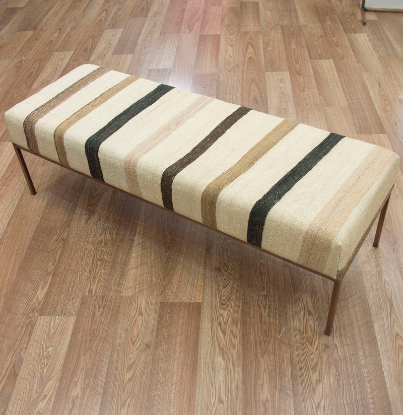 End of Bed Bench covered in Vintage Striped Kilim