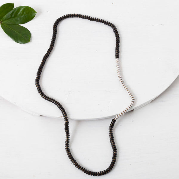 White Marble & Black Ceramic Necklace