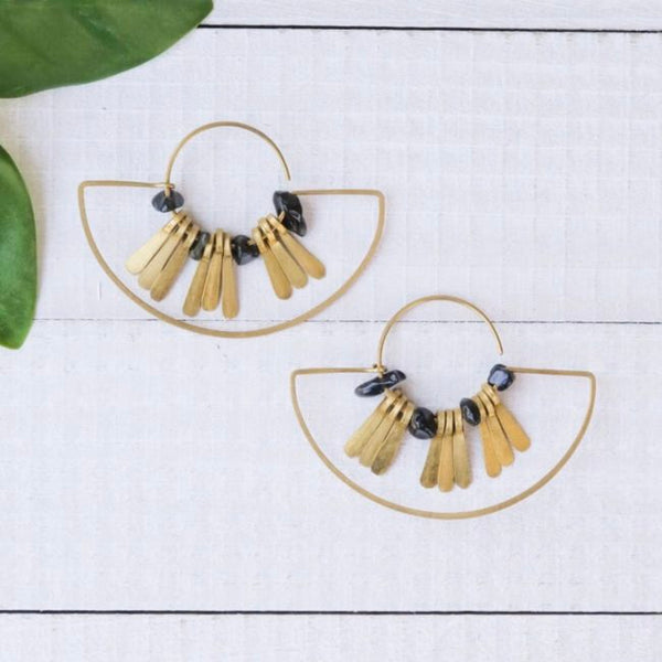 Brass and Onyx Hoop Earrings