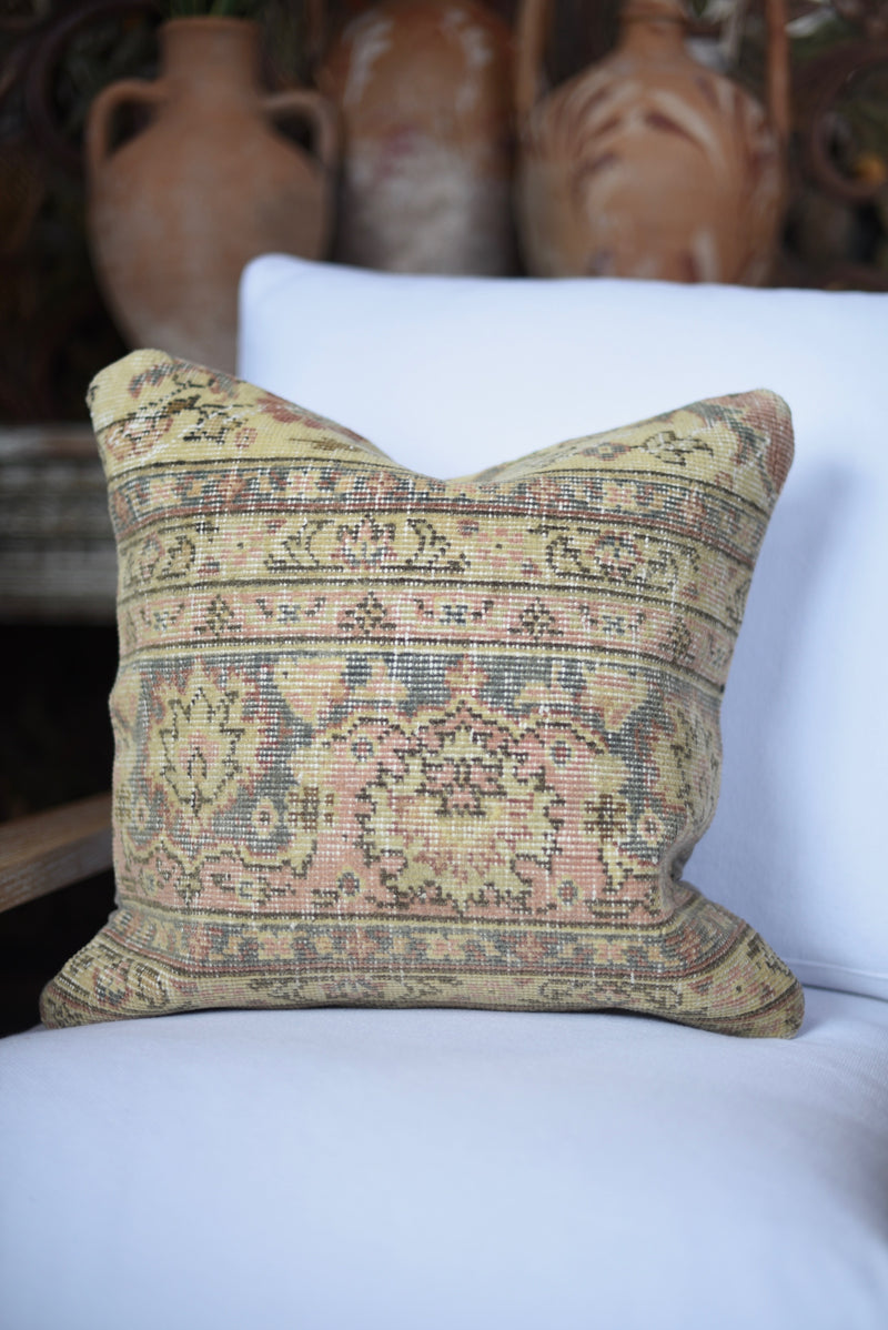 Neutral Vintage Turkish Carpet Pillow
