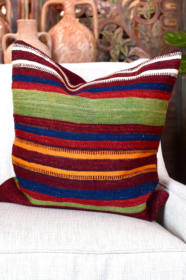 Vintage Turkish Kilim Striped Pillow