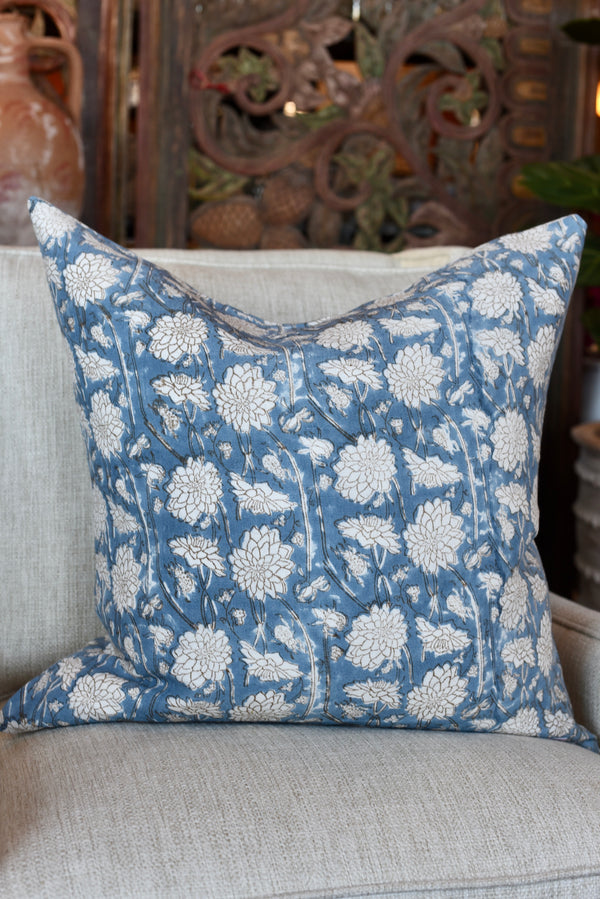 "Floral Blockprinted 24"" Pillow"