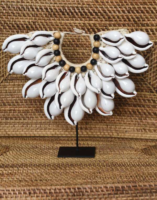 White Shell Papua Necklace on Stand