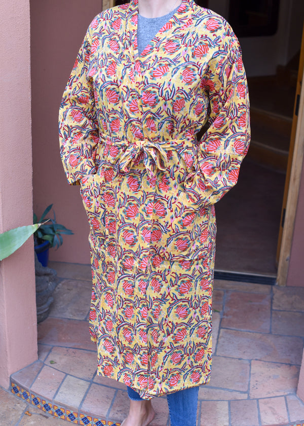 Hand Blockprinted Robe or Beach Cover Up