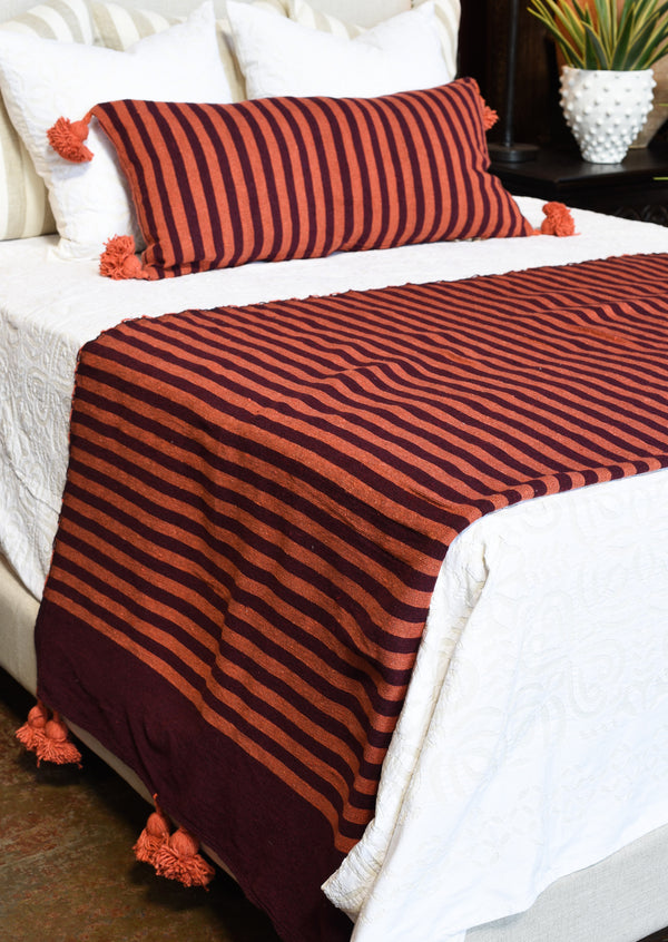 Pom Pom Blanket - Orange & Maroon Stripe