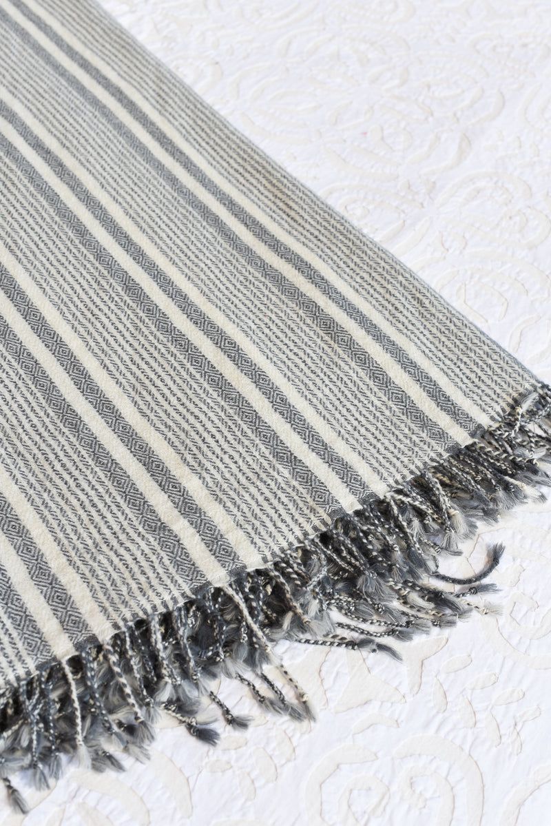 Soft Wool Kahsmiri Throw Blanket - Grey