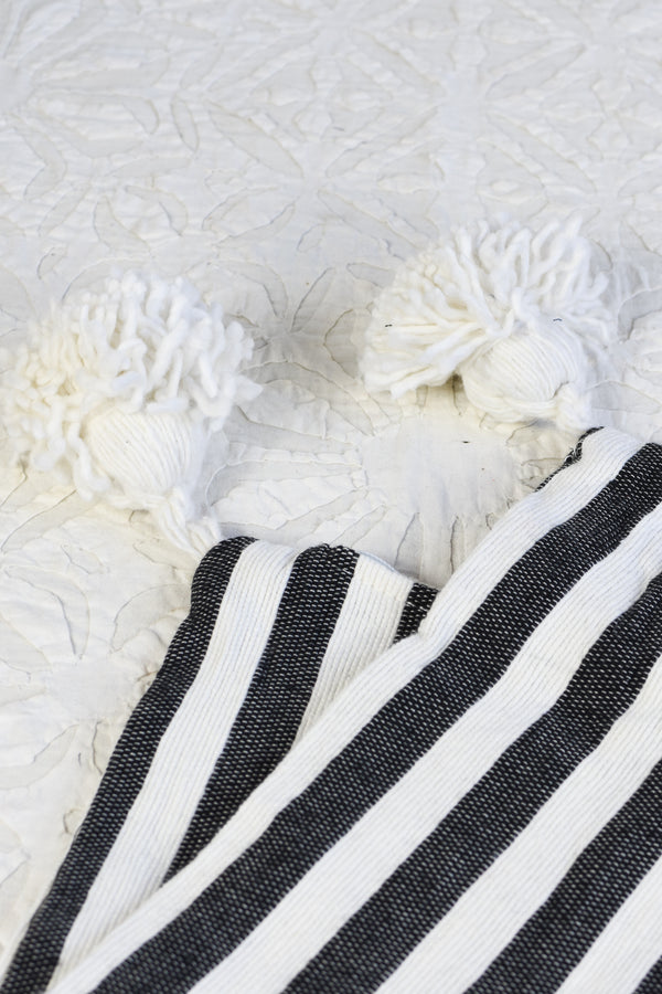 Striped Pom Pom Pillow - Large Lumbar