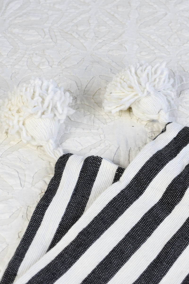 Striped Pompom Pillow - Large Lumbar