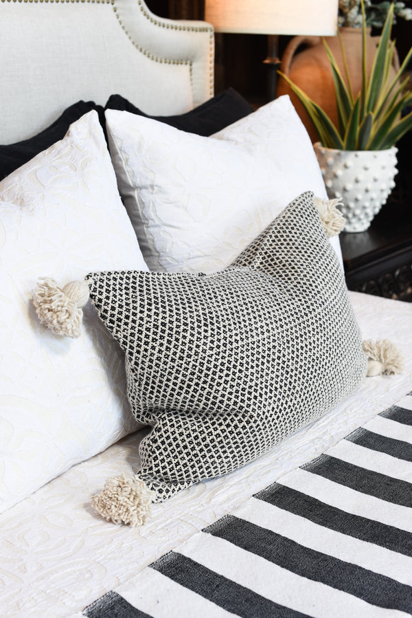 Jacquard Pompom Pillow - Cream - Lumbar