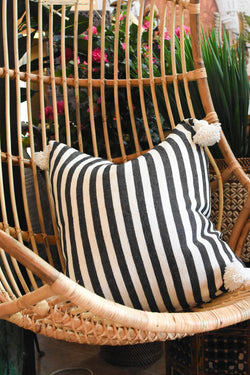Striped Pompom Pillow - Square