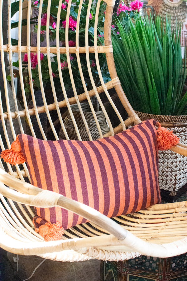 Striped Pom Pom Pillow - Lumbar