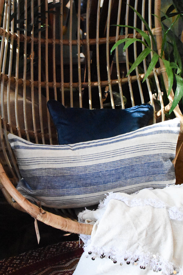 Striped Linen Pillow - Tan & Blue