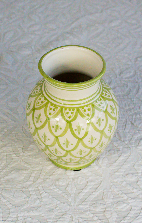 Safi Vase - Lime Green on White