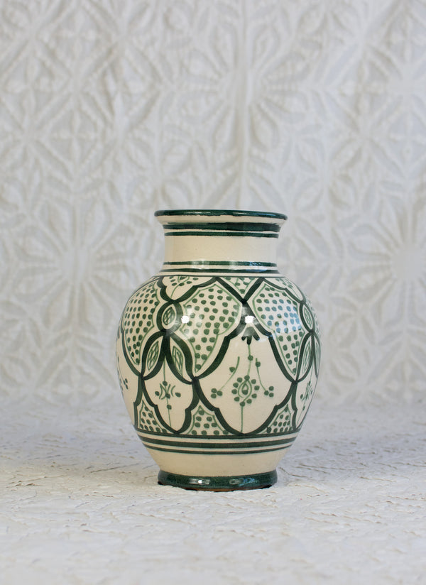Safi Vase - Forest Green on White