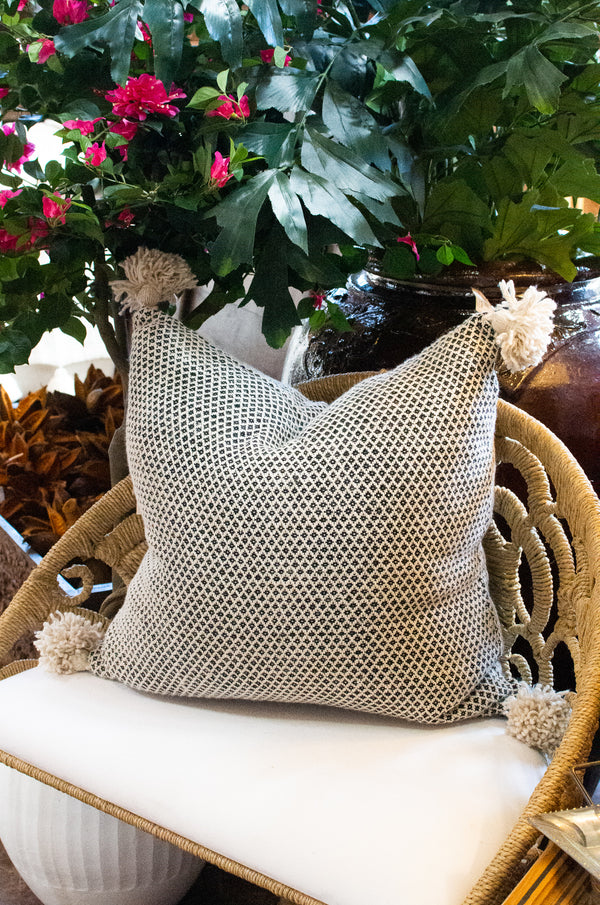 Jacquard Pom Pom Pillow - Cream - Square