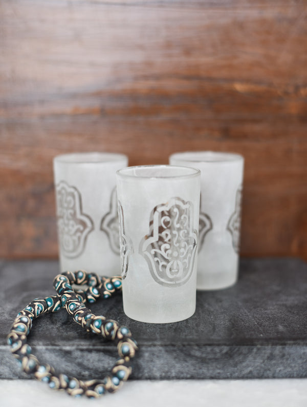 Glass Votive - Hamsa Pattern