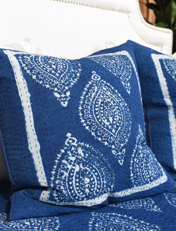 Indigo Block Printed Pillow