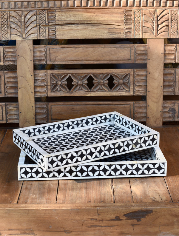 Bone Inlay Tray Black and White