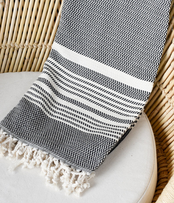 Turkish Towel - Black and Natural