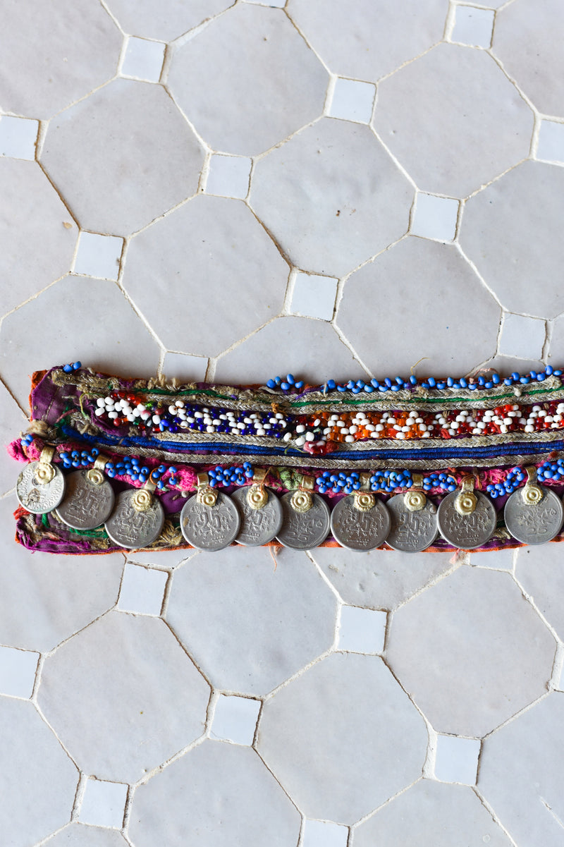 VIntage Beaded Belt with Old Coins