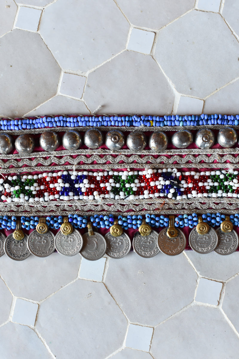 Vintage Kutch Hand-Beaded Belt with Coins