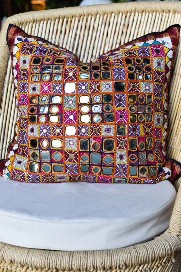 Vintage Kutch Shisha Mirrorcloth Pillow
