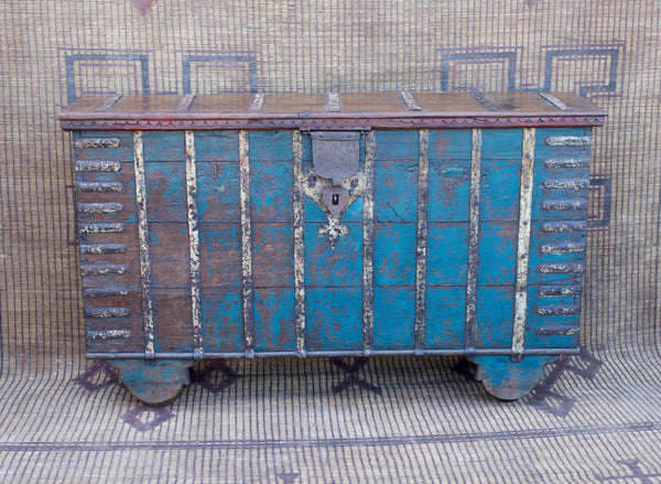 Turquoise Old Teak Console Trunk