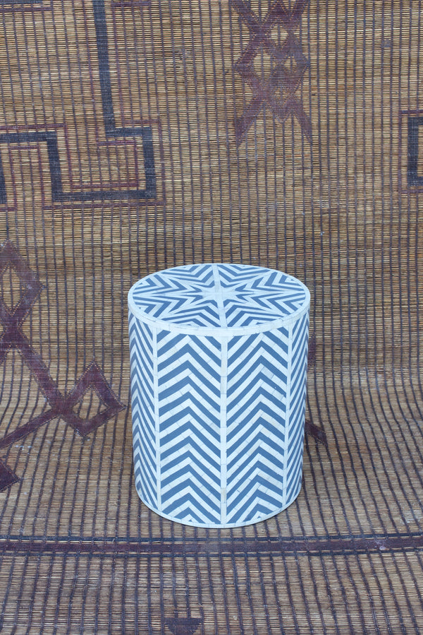 Gray and White Bone Inlay Side Table