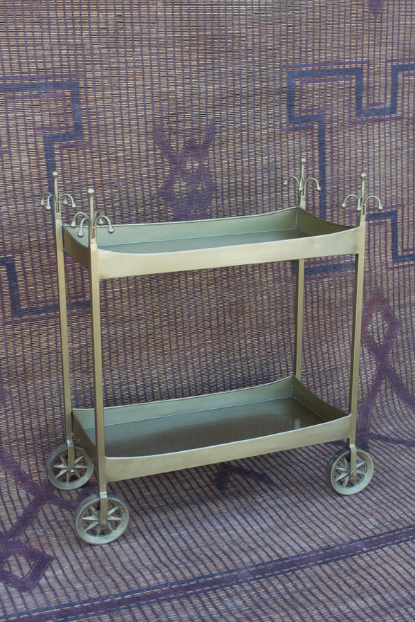 Brass Finish Iron Bar Cart