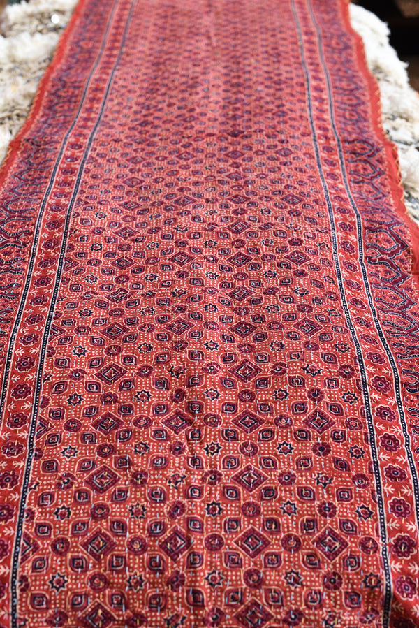 Ajrak Blockprinted Table Runner or End of Bed Textile