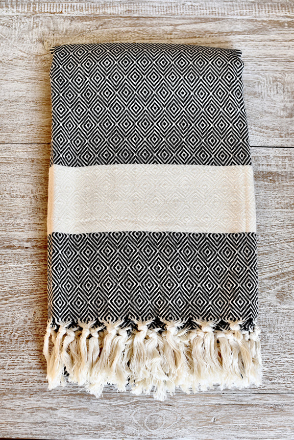 Turkish Towel Black and White