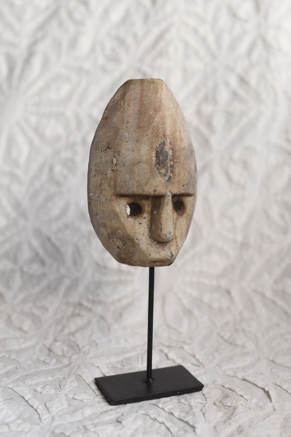 Primitive Tribal Indonesian Head on Stand