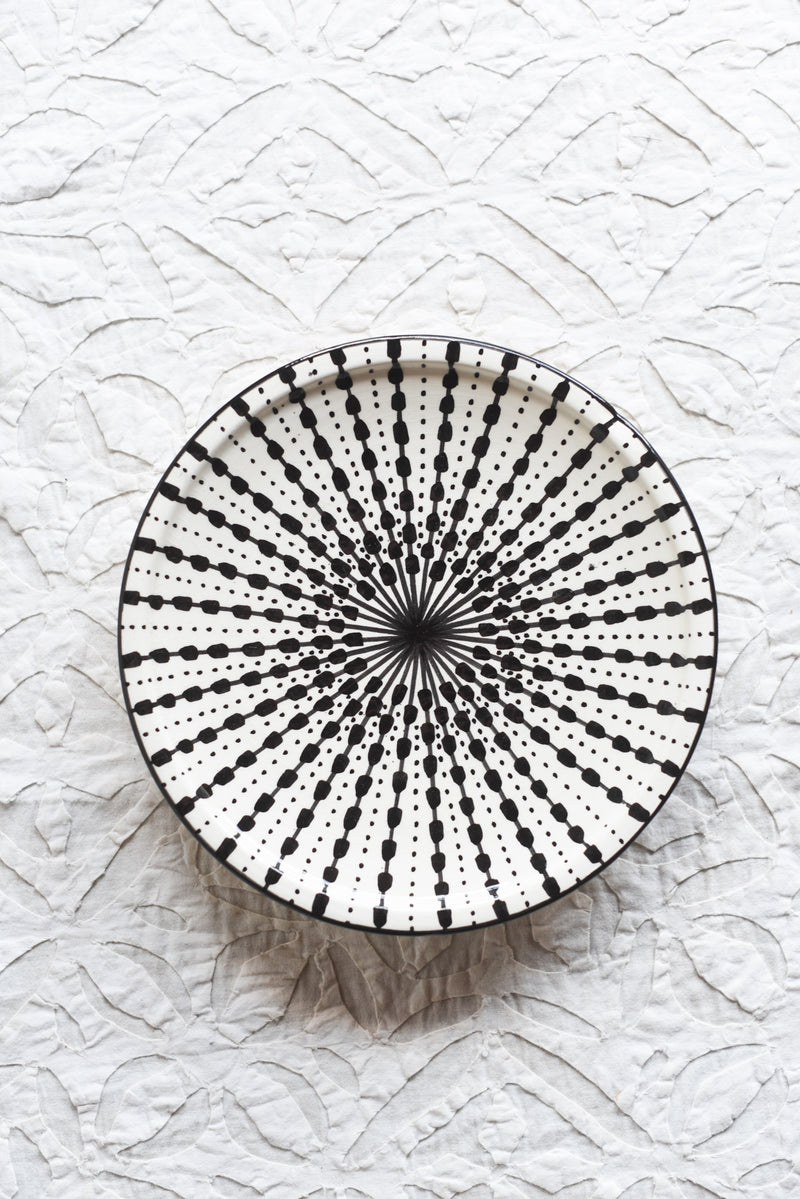 Handpainted Moroccan Black and White Plate