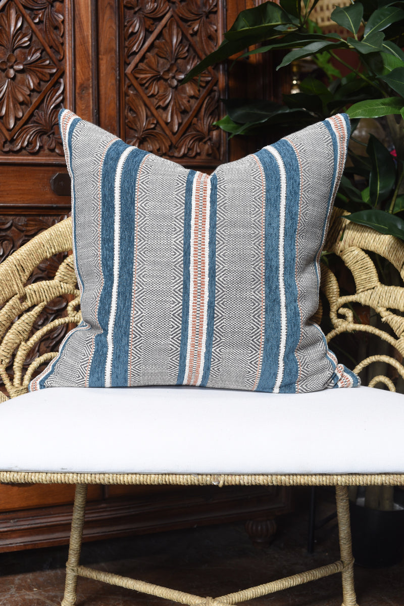 Indigo and Rust Euro Pillow