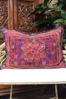 Vintage Afghani Embroidered Pillow with Fringe