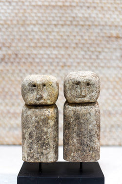 Primitive Sumba Stone Heads on Stand