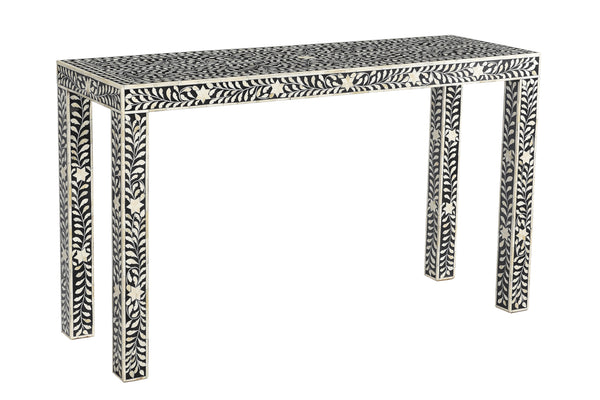 Bone Inlay Console Table - Black and White