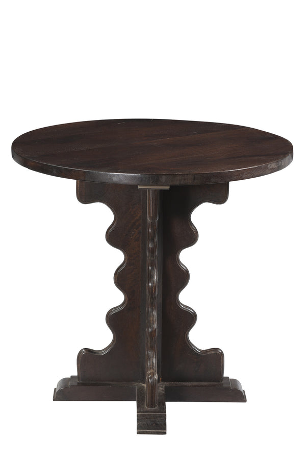Zig Zag Round Side Table - Dark Brown