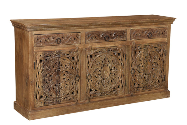 Carved Three Door Three Drawer Sideboard