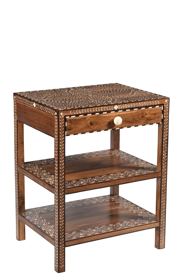 Bone Inlay Side Table with Drawer and Shelves