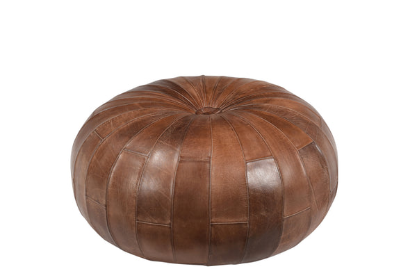 Leather Tufted Poof