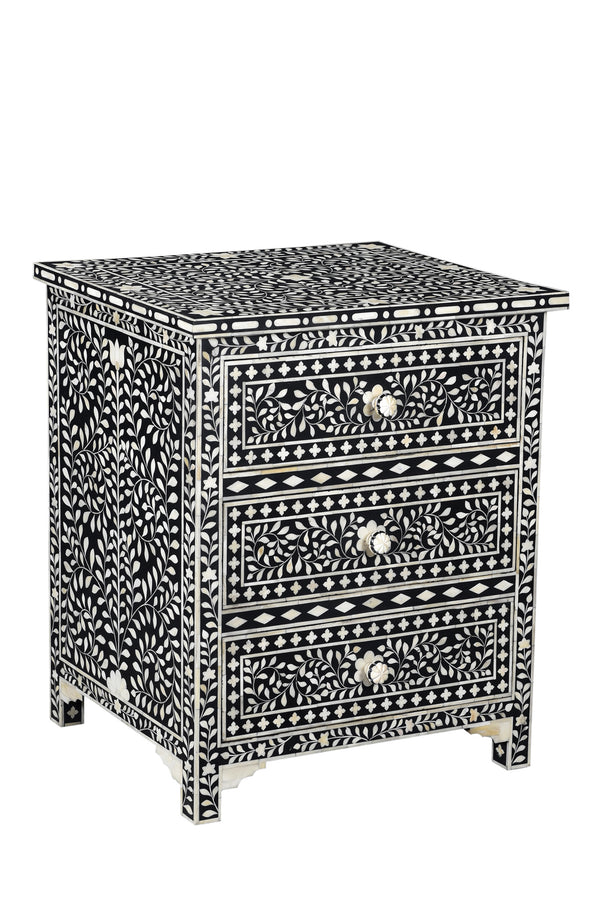 Black and White Bone Inlay Bedside Dresser