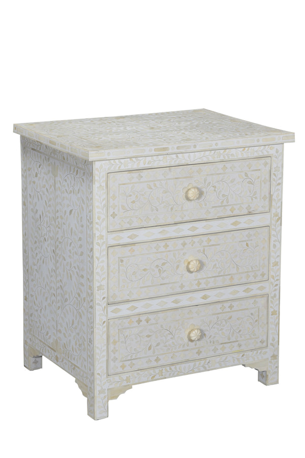 White on White Bone Inlay Bedside Dresser