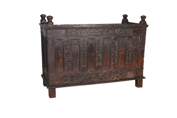 Antique Carved Majuce Chest from Rajashtan