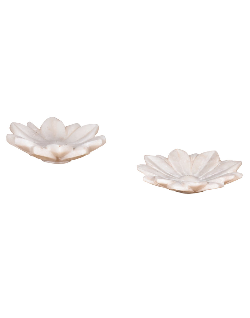 Hand Carved Lotus Marble Flower Dish