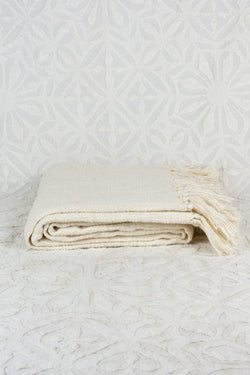 Cream Throw Blanket with Fringe
